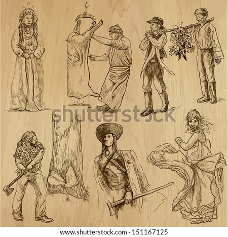People and customs around the World (set no.3). Collection of hand drawn illustrations (originals, no tracing). Each drawing comprise of two layers of outlines, colored background is isolated. - stock vector