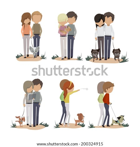 People And Dogs Set - Isolated On White Background - Vector Illustration, Graphic Design Editable For Your Design   - stock vector