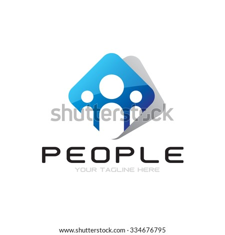 People And Folder Icon Vector Logo Template