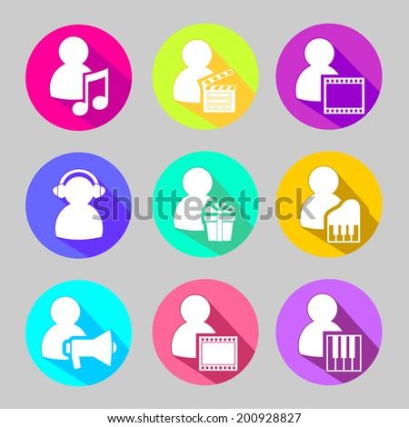People Media Symbols Flat Icons Set Stock Vector 200928827