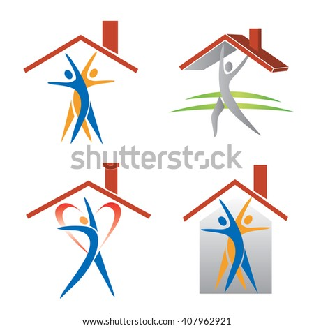 People and roof icons. Four icons with people under roofs. Concept for real estate presentation. Vector available.  - stock vector
