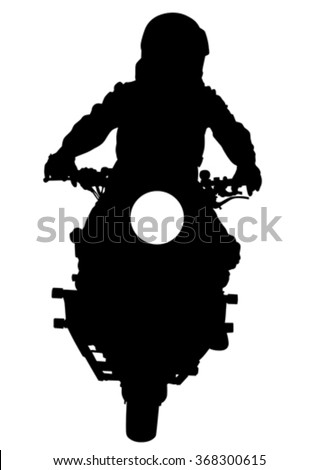 People and sport bike on white background - stock vector