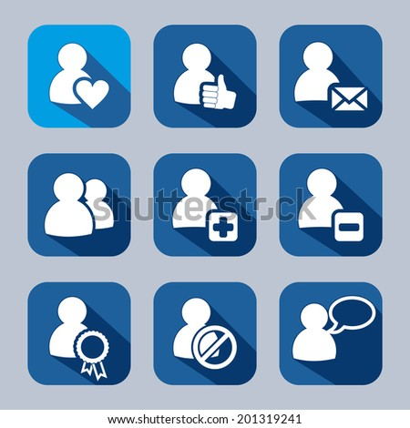 People and web symbols flat icons set with long shadow. Social networking and communication. - stock vector