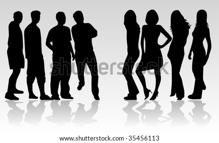 people are divided into groups - stock vector