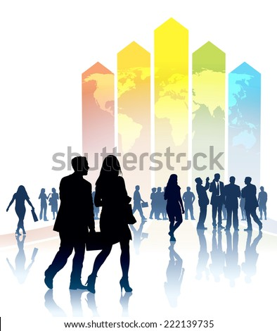 People are going to a large colorful chart, conceptual business illustration - stock vector