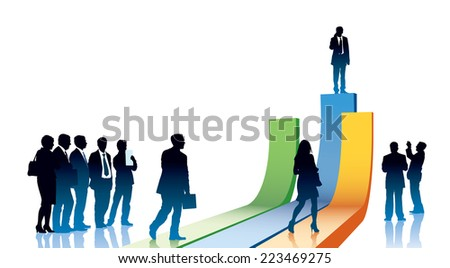People are going to take their position - stock vector
