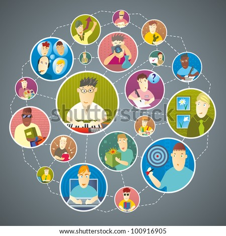 People are in contact via social media - stock vector