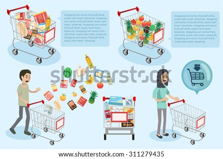 people are shopping in supermarket and they are going to cashier with cart full - Vector Illustration, Graphic Design - stock vector