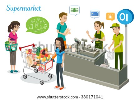 People are shopping in supermarkets.Cashiers have work in cash counter on supermarket. Isometric view in supermarket.The payment for supermarket.Vector Illustration, Graphic Design - stock vector