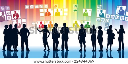 People are standing in front of large displays - stock vector