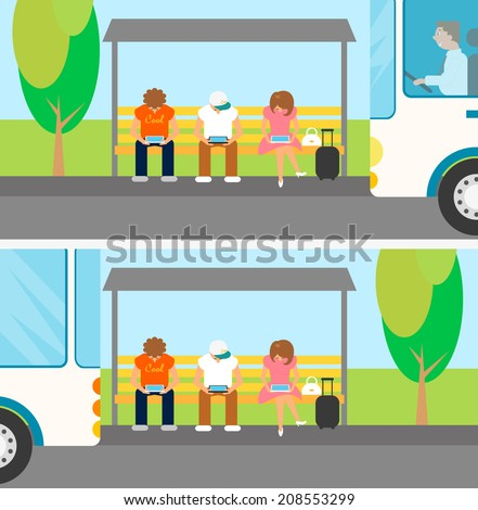 People are waiting a bus and using gadgets at this time - stock vector