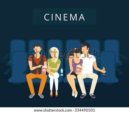 People are watching film in the cinema. Flat modern illlustration of two guys with girlfriends who are watching a movie sitting on blue seats - stock vector