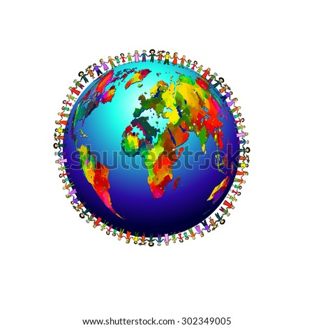 People around the globe together. Vector - stock vector