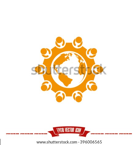 people around the table  icon eps10, people around the table  icon illustration, people around the table  icon flat, people around the table  icon art, people around the table  icon - stock vector