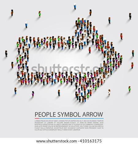 People arrow isometric, Arrow group sign, Vector illustration - stock vector