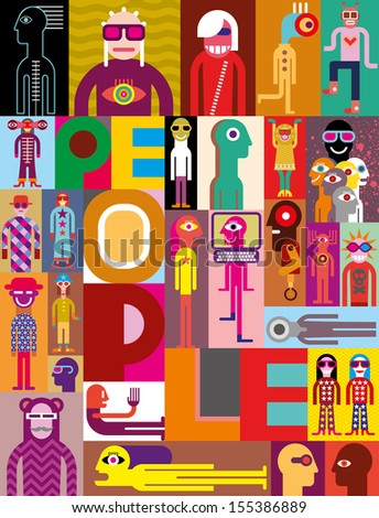 """People. Art composition of different people. Vector design with text """"People"""". - stock vector"""