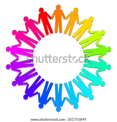 people as an circle, rainbow colors