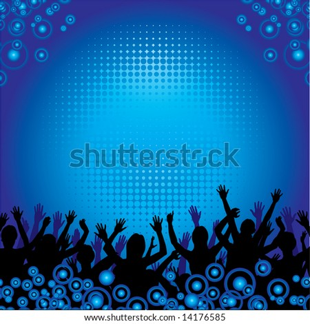 People at a concert enjoying themselves vector background - stock vector