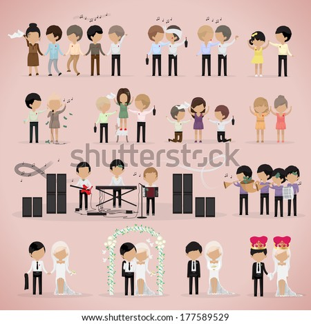 People At A Wedding, Dancing And Wedding Couple - Isolated On Pink Background - Vector Illustration, Graphic Design Editable For Your Design. - stock vector