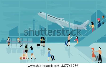people at airport vector travel activities illustration  departure arrival  flight plane - stock vector