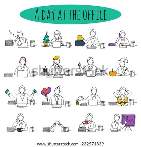 People at office desk working managers businessmen sketch avatars set vector illustration - stock vector