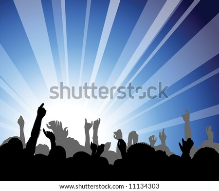 People at the concert - heads and hands on blue background - stock vector