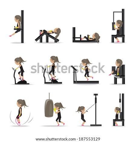 People At The Gym Exercising - Isolated On White Background - Vector Illustration, Graphic Design Editable For Your Design - stock vector