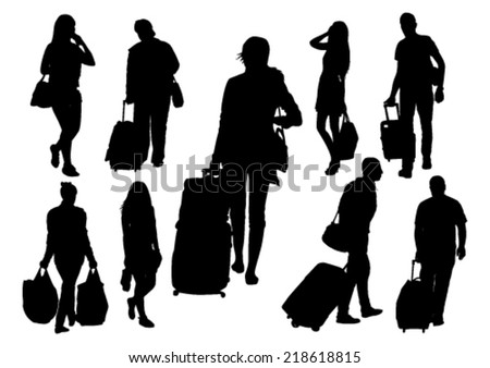People at the Station Silhouettes Set - stock vector