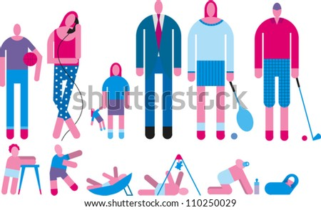 People at various stages of growth - stock vector