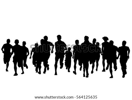 People athletes on running race on white background