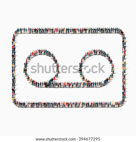 people audio cassettes icon - stock vector