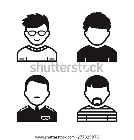 People avatar and user icons. Occupation and people icons. Vector illustration - stock vector
