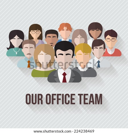People avatars group icons in flat style. Different male and female faces in office team. Vector illustration. - stock vector