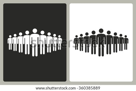 People  -  black and white icons. Vector illustration. - stock vector