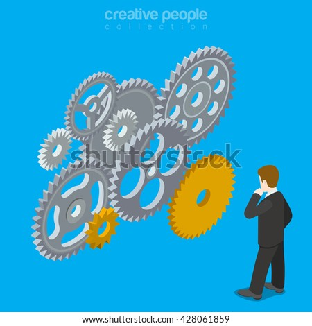 People brain gear vector concept. Man mind wheel thinking creative design illustration. Person think idea gears mechanism work business conception on blue background. - stock vector