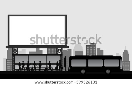 people, bus stop in the city with blank advertising billboard, silhouette vector - stock vector