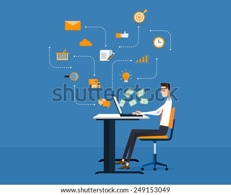 people business make money idea on line concept  - stock vector