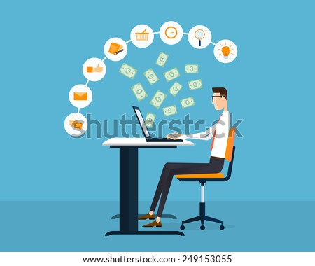 people business making earning on line idea concept background - stock vector