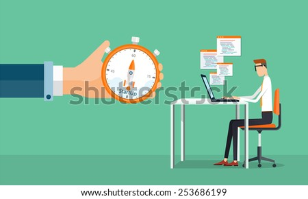 people business man working and star tup to business .people business cartoon character - stock vector