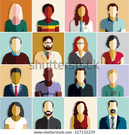 People. Business people icons. - stock vector