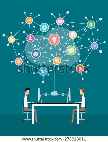 people business working on cloud network - stock vector