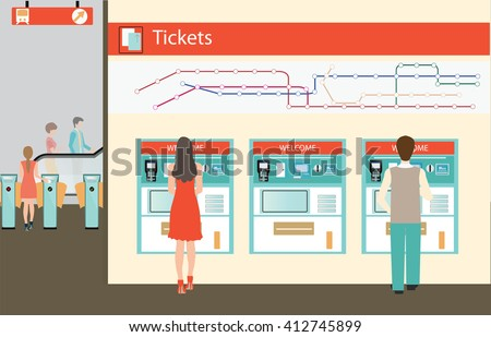 People  buying a ticket for the train, Train ticket vending machines wiyh Railway Map, Entrance of railway station, transportation vector illustration. - stock vector