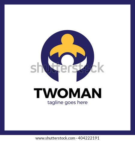 People Care Logo. Two man in circle logos - stock vector