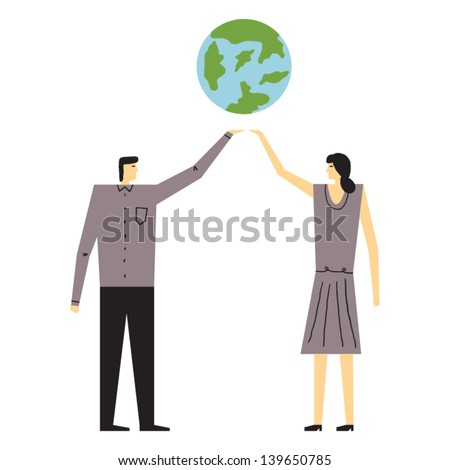 people caring about the planet vector illustration - stock vector