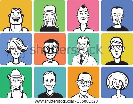people cartoon faces - stock vector