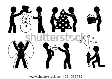 People celebrate the holidays  - stock vector