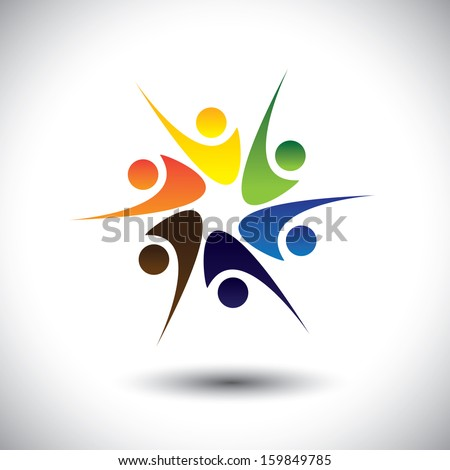 people celebrating & having fun or friends sharing joy & happiness. This unusual vector also represents excited people, people dancing, school children or kids playing, colorful employees in circle - stock vector