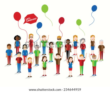 People Celebrating New Year Vector Design - stock vector