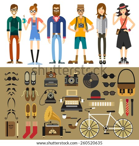 People characters: hipster, tourist, photographer, teen, men, women. Fashion style: mustache, beard, retro phone, typewriter, camera, notebook, shoes, tie, bag, bicycle. Vector flat illustration  - stock vector
