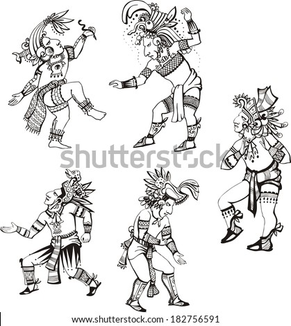 People characters in ancient maya style. Set of vector images. - stock vector